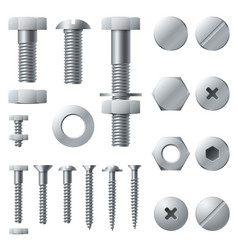 metal screws bolt screw nut rivet head steel vector image