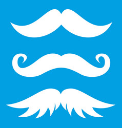 Moustaches icon white vector