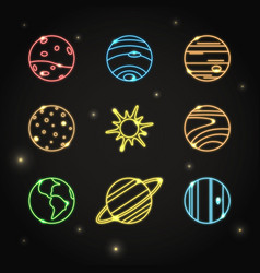neon solar system planets icon set in line style vector image