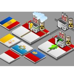 Nuclear power plant on button flag small vector