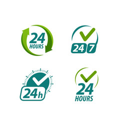 open 24 hours a day symbol or logo always vector image