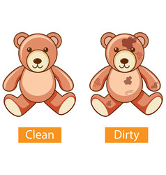 Opposite adjectives words with clean and dirty vector