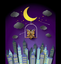 owl standing on the cage vector image