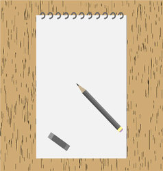 Pencil with an album on the wooden table vector