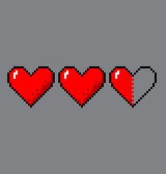 Pixel art hearts for game vector