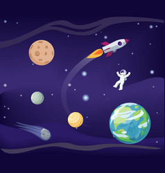planets set and cosmonaut vector image
