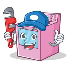 Plumber gas stove character cartoon vector