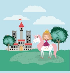 Princess with unicorn in the camp and castle vector