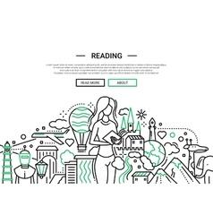 Reading - line design website banner vector