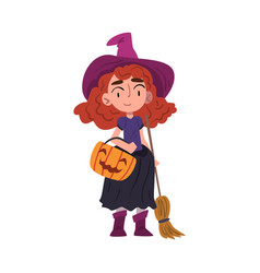 red haired girl witch standing with broom and vector image