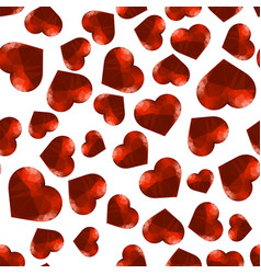 red polygonal heart random seamless pattern vector image