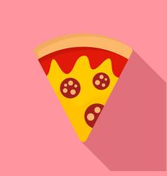salami pizza slice icon flat style vector image