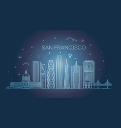 san francisco city skyline background vector image