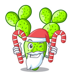 Santa with candy cartoon the prickly pear opuntia vector