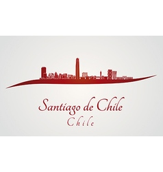 Santiago de Chile skyline in red vector image