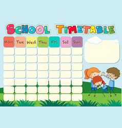 School timetable template with kids playing vector