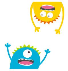 screaming monster set head silhouette two eyes vector image