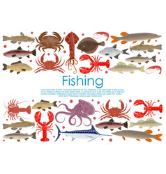 Seafood fishing poster of fresh fish vector