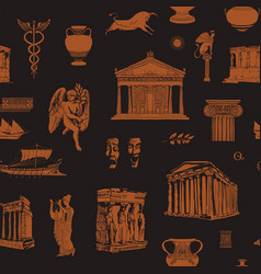 Seamless pattern on theme ancient greek vector