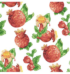 seamless pattern with pomegranate fruits buds and vector image