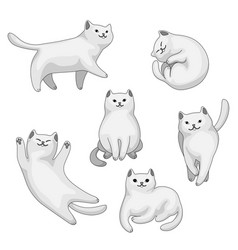 Set cartoon white cats vector