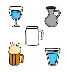 set drinks beverages isolated icons vector image