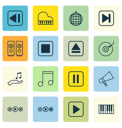 set of 16 multimedia icons includes note donate vector image