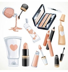 Set of cosmetics objects in beige color lipstick vector image