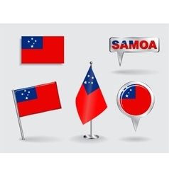 Set of Samoan pin icon and map pointer flags vector