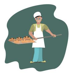 smiling baker on white background vector image