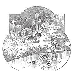 snail vintage vector image