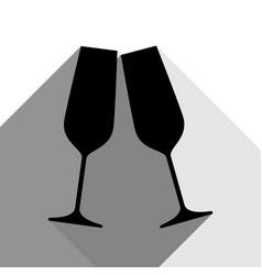 sparkling champagne glasses black icon vector image