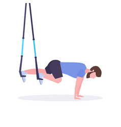 sporty man doing exercises with suspension fitness vector image