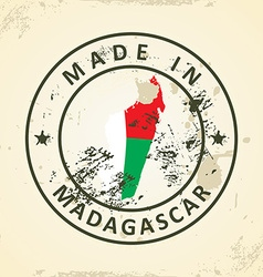 Stamp with map flag of Madagascar vector