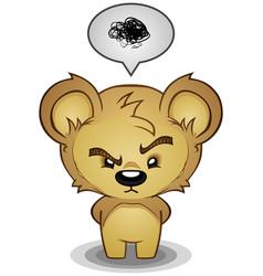 Stern frustrated teddy bear cartoon character vector