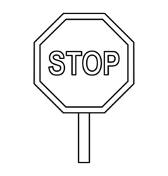 Stop traffic sign icon outline style vector image