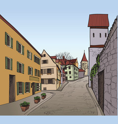 Street view in old city cityscape - houses vector