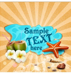 Tropical banner with seashells starfish vector