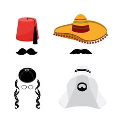 Turkish mexican arabic and jewish hats vector image
