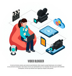vlogger isometric flowchart background vector image