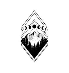 Wanderlust adventure travel rhombus icon diamond vector