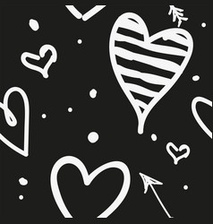 white draw heart on black background use how vector image