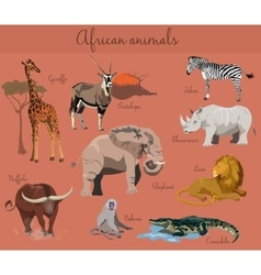 Wild african animals set with nature elements vector