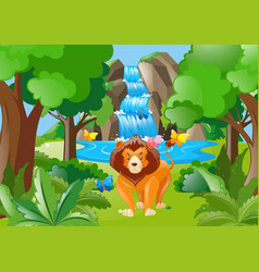 Wild lion living in the forest vector