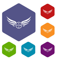 win wing icons hexahedron vector image