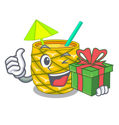with gift pineapple fruit juice on character drink vector image