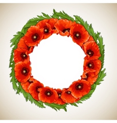 Wreath poppies vector