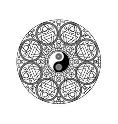 Yin yang symbol in eastern geometric pattern vector