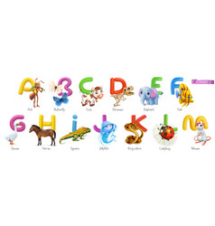 zoo alphabet funny animals 3d icons set letters vector image