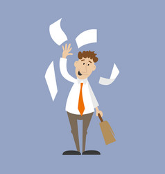 businessman throwing documents vector image